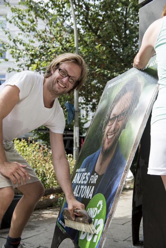 Wahlkampf der Grünen in Hamburg. Foto: Julia Kneuse.